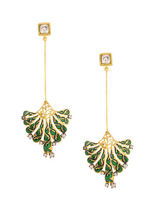 Green Enameled Kundan-inspired Gold Tone Silver Earrings with Pearls