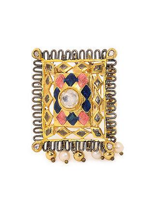 Pink-Blue Enameled Gold Tone Adjustable Silver Ring