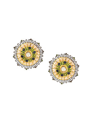 Blue-Green Enameled Gold Tone Earrings