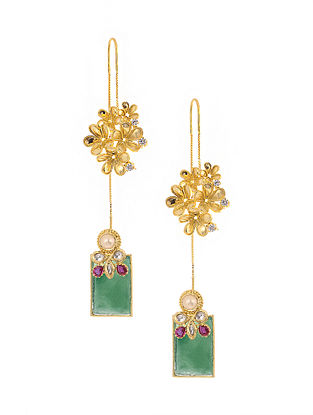 Green Onyx Kundan-inspired Gold Tone Silver Earrings with Pearls