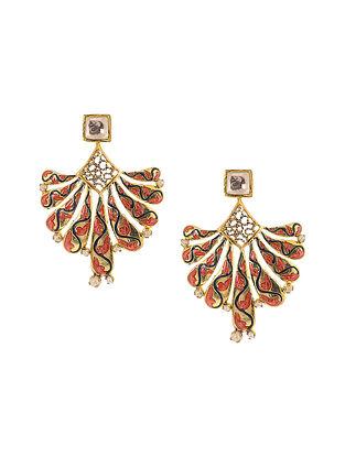Pink-Blue Enameled Kundan-inspired Gold Tone Silver Earrings