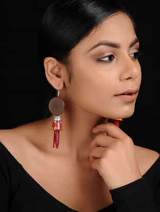 Red-Multicolored Silver Tone Handcrafted Wood Earrings
