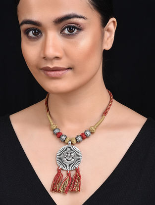 Red Beige Silver Tone Necklace with Ganesha Motif