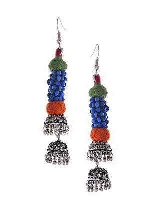 Multicolored Silver Tone Jhumka Tribal Earrings