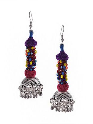 Multicolored Silver Tone Tribal Jhumka Earrings