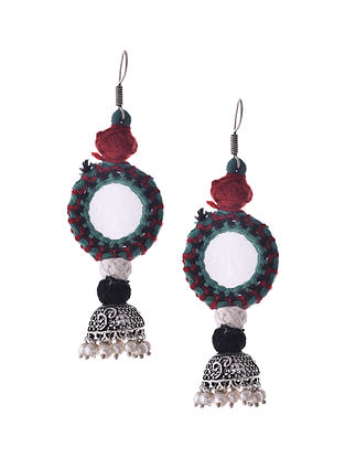 Blue Red Silver Tone Tribal Jumka Earrings with Mirror