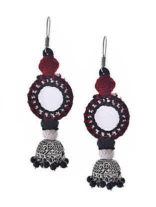 Red Black Silver Tone Tribal Jhumka Earrings with Mirror