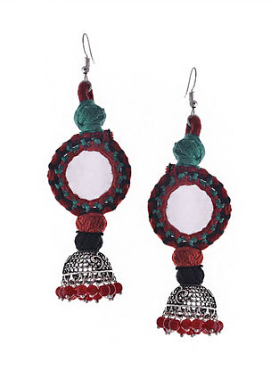 Red Blue Silver Tone Tribal Juhmka Earrings with Mirror