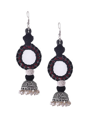 Black Red Silver Tone Tribal Jhumka Earrings with Mirror