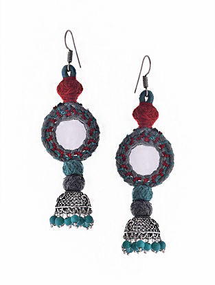 Blue Red Silver Tone Tribal Jhumka Earrings with Mirror