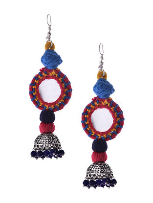 Multicolored Silver Tone Tribal Jhumka Earrings with Mirror