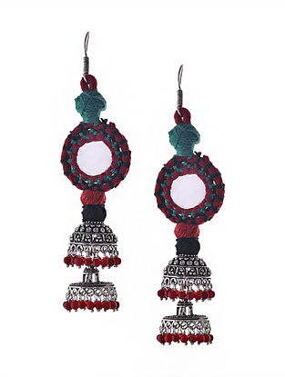 Red Blue Silver Tone Tribal Jhumka Earrings with Mirror