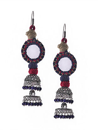 Blue Pink Silver Tone Tribal Jhumka Earrings with Mirror