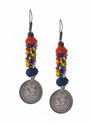 Multicolored Silver Tone Earrings with Coin
