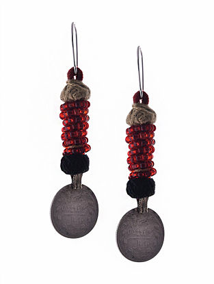 Red Silver Tone Earrings with Coin