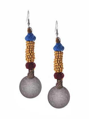 Yellow Dual Tone Earrings with Coin