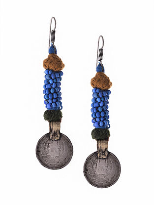 Blue Dual Tone Earrings with Coin