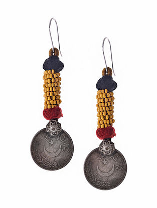 Yellow Silver Tone Earrings with Coin