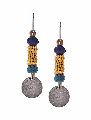 Yellow Blue Silver Tone Earrings with Coin