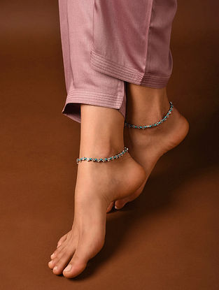 Turquoise Silver Tone Handcrafted Anklets (Set Of 2)