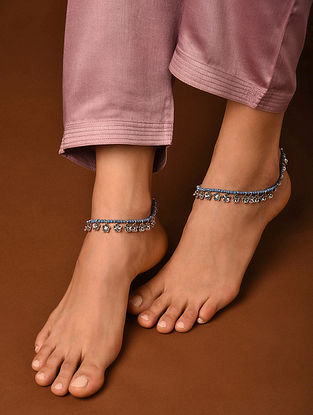 Grey Silver Tone Handcrafted Anklets (Set Of 2)