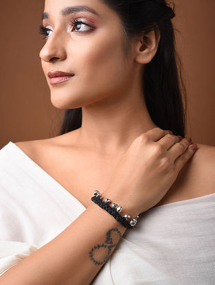 Black Silver Tone Handcrafted Bracelet With Ghungroo
