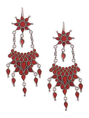 Red Glass Silver Earrings