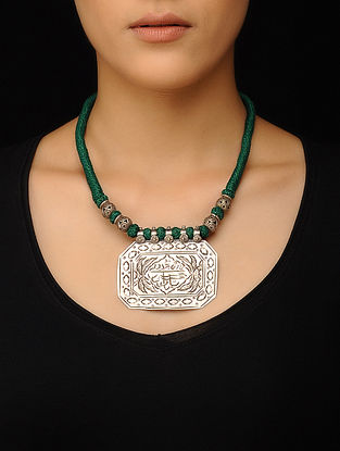 Green Thread Tribal Silver Necklace