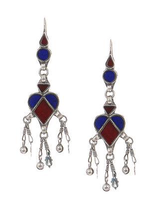 Blue-Red Glass Tribal Silver Earrings