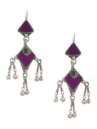 Purple Gass Tribal Silver Earrings