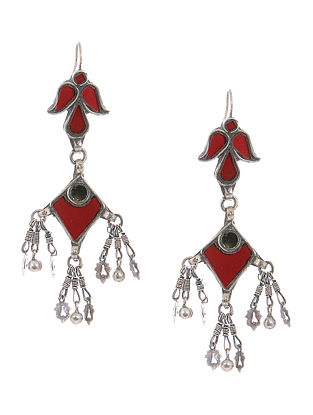 Red Glass Tribal Silver Earrings