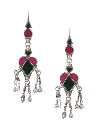Pink-Green Gass Tribal Silver Earrings