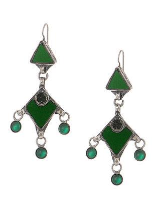 Green Gass Tribal Silver Earrings