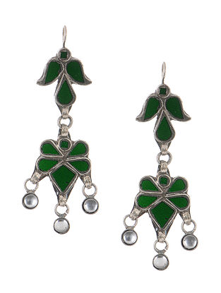 Green Gass Tribal Silver Earrings