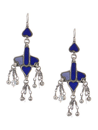 Blue Gass Tribal Silver Earrings