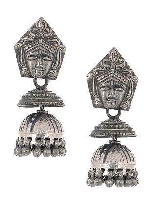 Tribal Silver Jhumkis with Deity Motif
