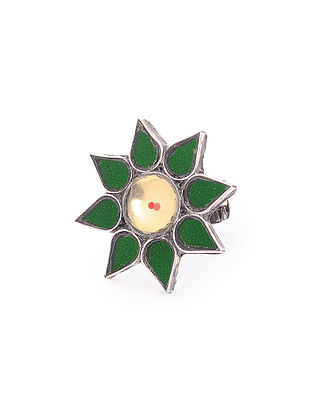 Green-Yellow Glass Tribal Adjustable Silver Ring with Floral Design