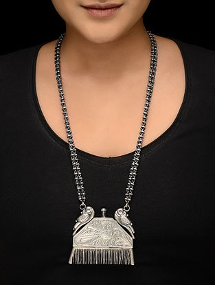 Tribal Silver Necklace with Bird Design