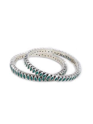 Green Silver Bangles (Set of 2) (Bangle Size -2/2)