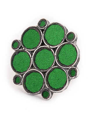 Green Glass Tribal Adjustable Silver Ring