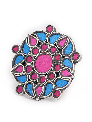 Blue-Pink Glass Tribal Adjustable Silver Ring