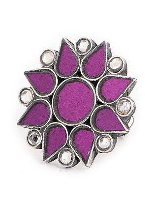 Purple Glass Tribal Adjustable Silver Ring