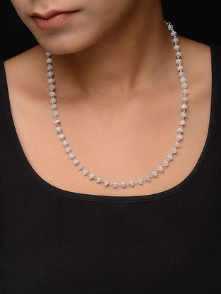 Moonstone Beaded Silver Necklace