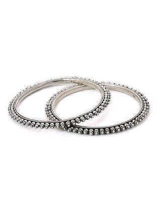 Tribal Silver Bangles (Set of 2) (Bangle Size - 2/6)