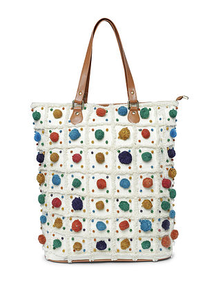 White-Multicolored Hand-Embroidered Cotton Tote