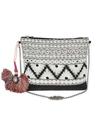 Black-Multicolored Machine Embroidered Cotton Clutch with Tassles