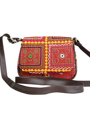Red-Multicolored Machine Embroidered Cotton Sling Bag