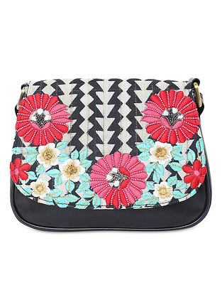 Black-Multicolored Hand-Embroidered Cotton Sling Bag