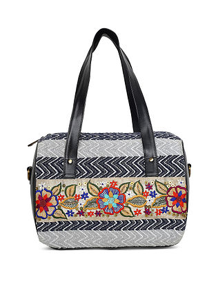 Black-Multicolored Hand-Embroidered Jacquard Duffle Bag