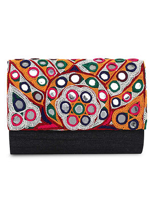 Black-Multicolored Hand-Embroidered Raw Silk Clutch
